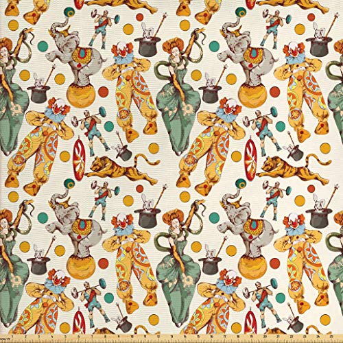 Ambesonne Circus Fabric by The Yard, Vintage Circus with Clown and The Wand Doing a Trick Doodle Style Design, Decorative Fabric for Upholstery and Home Accents, 1 Yard, Cream Yellow