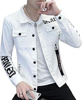 Men Letter Print Fashion Regular Fit Ripped Distressed Denim Trucker Jacket Coat