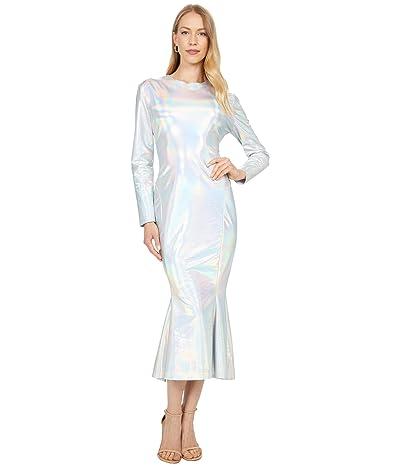 KAMALIKULTURE by Norma Kamali Long Sleeve Crew Fishtail Dress to Midcalf Women