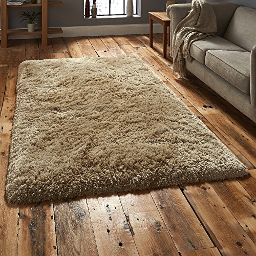 MODERN SUPERSOFT SHAGGY 8cm THICK PILE FLOOR RUG - QUALITY RUG/MAT (80cm x 150cm, Golden Beige)