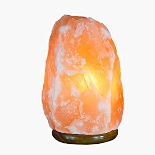 Lámpara de sal del Himalaya totalmente natural y hecha a mano con base de madera… (2/3 kg)