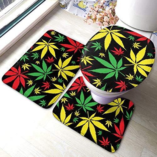 RedBeans - Juego de 3 Alfombrillas de baño Antideslizantes de Franela, diseño de Marihuana jamaiquina sobre Malas Hierbas, Color Negro