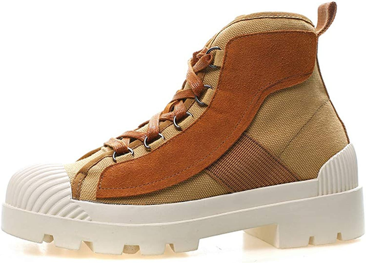 KAOKAOO Women's Lace up Mid Heel Work Combat Boots Fashion Ankle Bootie