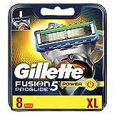Gillette Fusion5 ProGlide Power Lames De Rasoir Homme, Technologie FlexBall, Épouse Les Contours Du Visage, lot de x8 lames avec emballage compatible boite aux lettres
