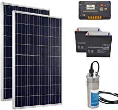ECO-WORTHY 24V Deep Well Water Pump System - 1pcs 24V DC Stainless Submersible Pump + 2pcs 100W Poly Solar Panel + 2pcs 50Ah Rechargeable Battery + 1pcs Charge Controller for Farming,Watering