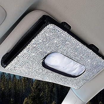 """EcoNour Bling Car Tissue Holder   Tissue Box Holder for Car   Napkin Holder   Black Disposable Face Masks Holder   Bling Car Accessories   Rhinestone Masks Holder for Women   9"""" x 5"""""""