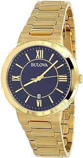 Bulova 97B199 Men's Gold Tone Stainless Steel Casual Blue Dial Dress Watch