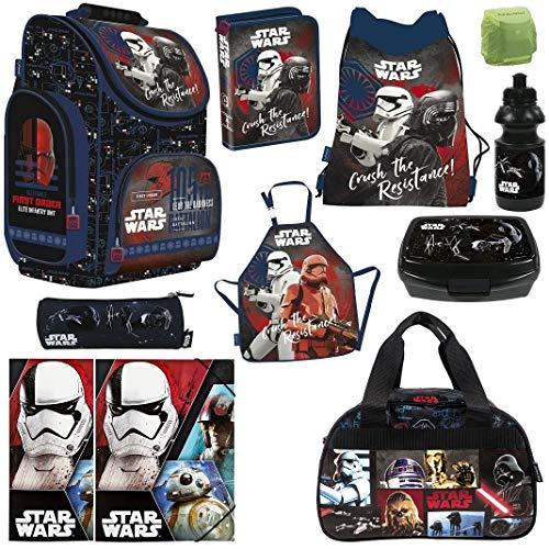 Familando Schulranzen-Set Star Wars 11-TLG. mit Federmappe Sporttasche und Regenschutz Ranzen
