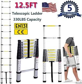 Yiya 12.5ft/3.8m Aluminum Telescoping Ladder 12-Step Portable Extension Ladder 330LBS Capacity Anti-Slip Loaded Locking Ladder