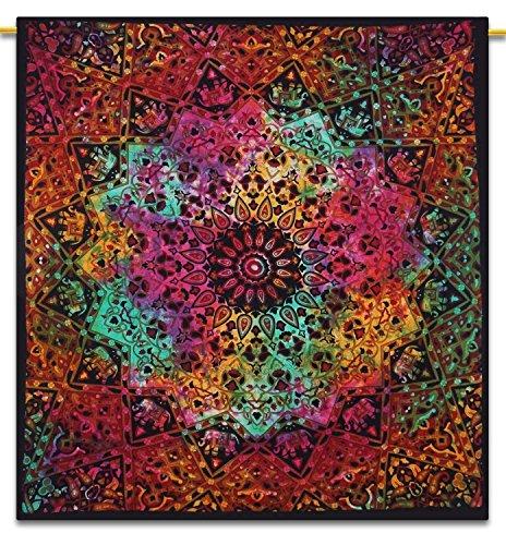 Handicrunch Indian Wall Hanging Tapestry Mandala Star Cotton Full Size Black ...