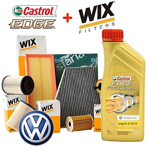 Kit de révision avec 4 filtres Bosch et huile moteur Castrol Professional LongLife III 5W30, 5 l, (F026407157, F026402820, F026400287, 1987432599)