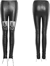 Punk Rave Womens Gothic Victorian Style Faux Leather Leggings Black Sexy Lace Up Pants
