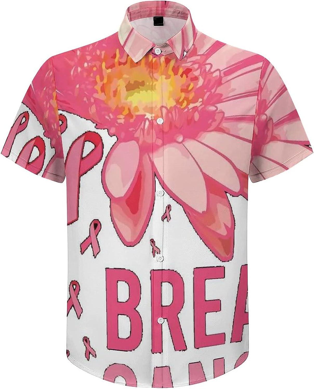Mens Button Down Shirt Faith Hope Love Breast Cancer Casual Summer Beach Shirts Tops