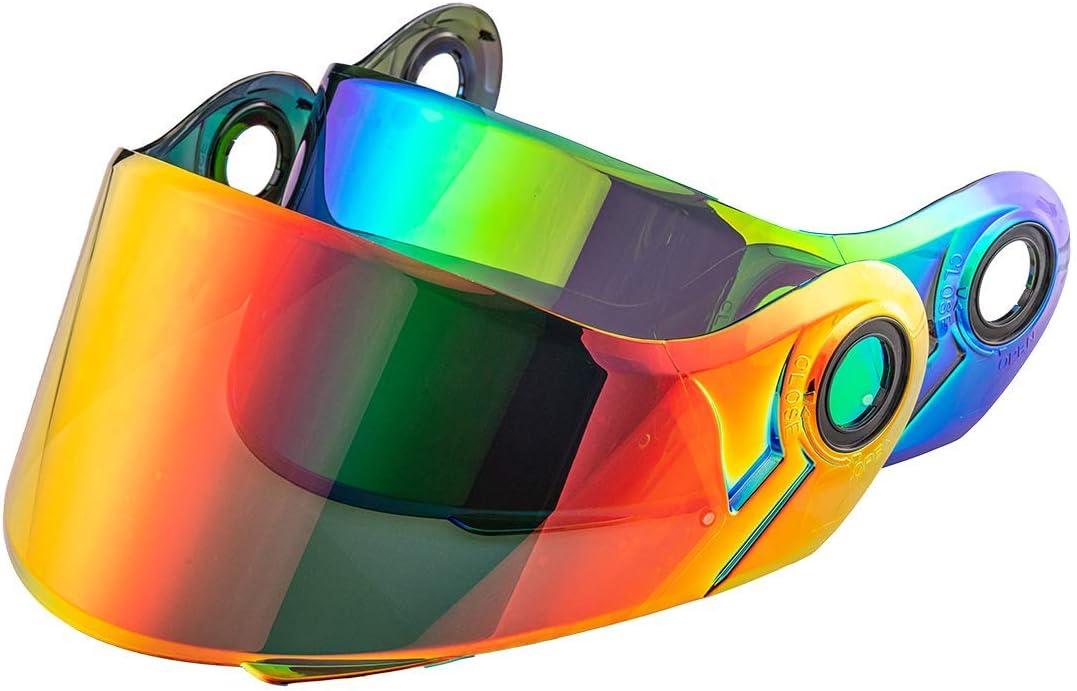 Chrome Green LS2 Strobe Helmets Visor Solid Modular Motorcycle Helmet Visor Lens Also Fit FF325 FF386 FF370 FF394 Replacement Face Shield