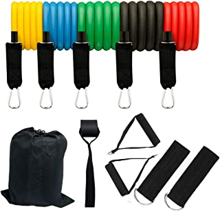 Resistance Bands for Exercise (11Pcs),Training Tubes with Door Anchor & Ankle Strapsp,Bands for Working Out and Physical T...