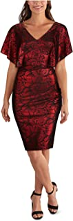 KENSIE Womens Red Floral V Neck Above The Knee Sheath Evening Dress AU Size:4