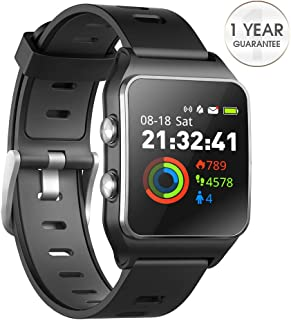 DR.VIVA GPS Watch for Men Women, Activity Tracker GPS Running Watch Touch Screen Smart Watch Heart Rate/Sleep/Step/Counter Monitor Sports Watch with 17 Sport Mode (Pure Black)