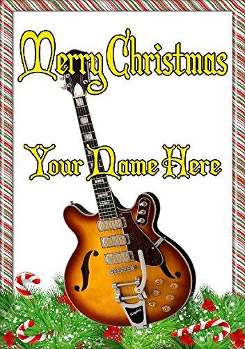 A5personalisierbar Grußkarte Semi-Akustische Gitarre ptcc10Xmas Weihnachten geschrieben von uns Geschenke für alle 2016von Derbyshire UK...