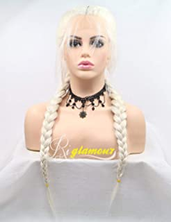 Riglamour Platinum Blonde Braided Pigtail Wig Lace Front Natural Looking Hair Parting Double Braids Wigs with Baby Hair Long Synthetic 100% Fiber Hair (Blonde #60)