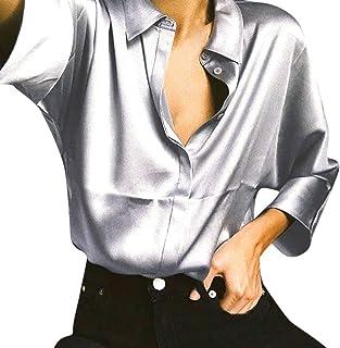 fa907ca5 AKwell Womens Metallic Silver Long Sleeve Satin Silk Work Button Down  Blouse Shirt with Cuffs Tops