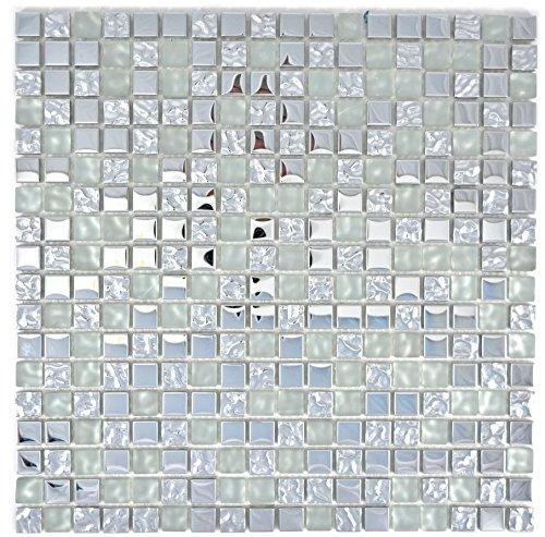 Mosaik Fliese Transluzent Glasmosaik Crystal EP Silber Glas gefrostet für WAND BAD WC DUSCHE KÜCHE FLIESENSPIEGEL THEKENVERKLEIDUNG BADEWANNENVERKLEIDUNG Mosaikmatte Mosaikplatte