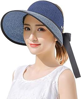قبعات CAPMESSO للوقاية من الشمس للنساء، قبعات الشاطئ القابلة للطي مع حزام ذقن واسع الحواف