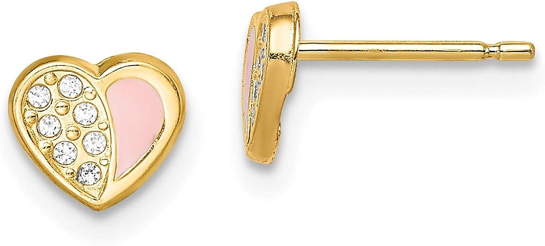 14k Madi K CZ Pink Enamel Heart Post Earrings