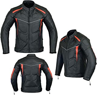 MOTORCYCLE ARMORED LEATHER JACKET BLACK WITH RED STRIPS ARMOR LJ-4009 XL