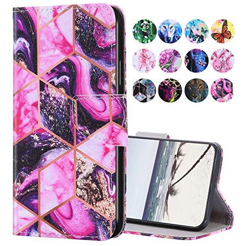 URFEDA Kompatibel mit Samsung Galaxy A21S Hülle Leder Handytasche Brieftasche Schutzhülle mit Bunt Muster Flip Hülle Stand Ständer Kartenfach Magnetverschluss Ledertasche Klapphülle,Violetter Marmor