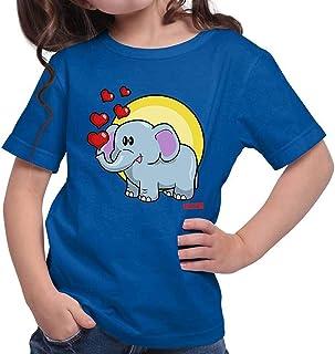 Hariz - Camiseta para niña con diseño de elefante y corazones, incluye tarjeta de regalo