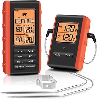 FEELLE Termometro Cucina Digitale Termometri da Carne Senza Fili Termometro per Barbecue con Doppia Sonda per Fumatore Cuc...