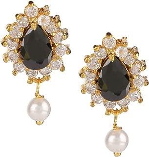 Jewel Pari 14 K Gold Plated Hypoallergenic Tear Drop Cubic Zirconia Pearl Drop Stud Earrings Pierced Jewelry for Women Gir...
