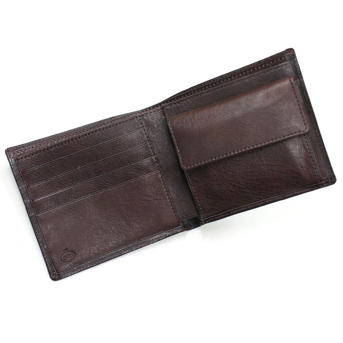 適用済み七面鳥傾くCWL1014-CHOCO 牛ヌメ革二つ折り財布:小銭入れ付:チョコ