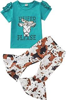 Little Toddler Baby Girl Letter Short Sleeve T-Shirt Tops Floral Flared Bell-Bottom Pants Leggings Kids Summer Outfits Set