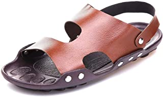 SHENTIANWEI Sandals Shoes for Men Slipper Pull on Microfiber Leather Quick Dry Cutout Flat Clog with Back Strap Open Toe Lightweight Buckled