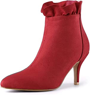 Women's Pointed Toe Stiletto Heel Ruffle Ankle Boots