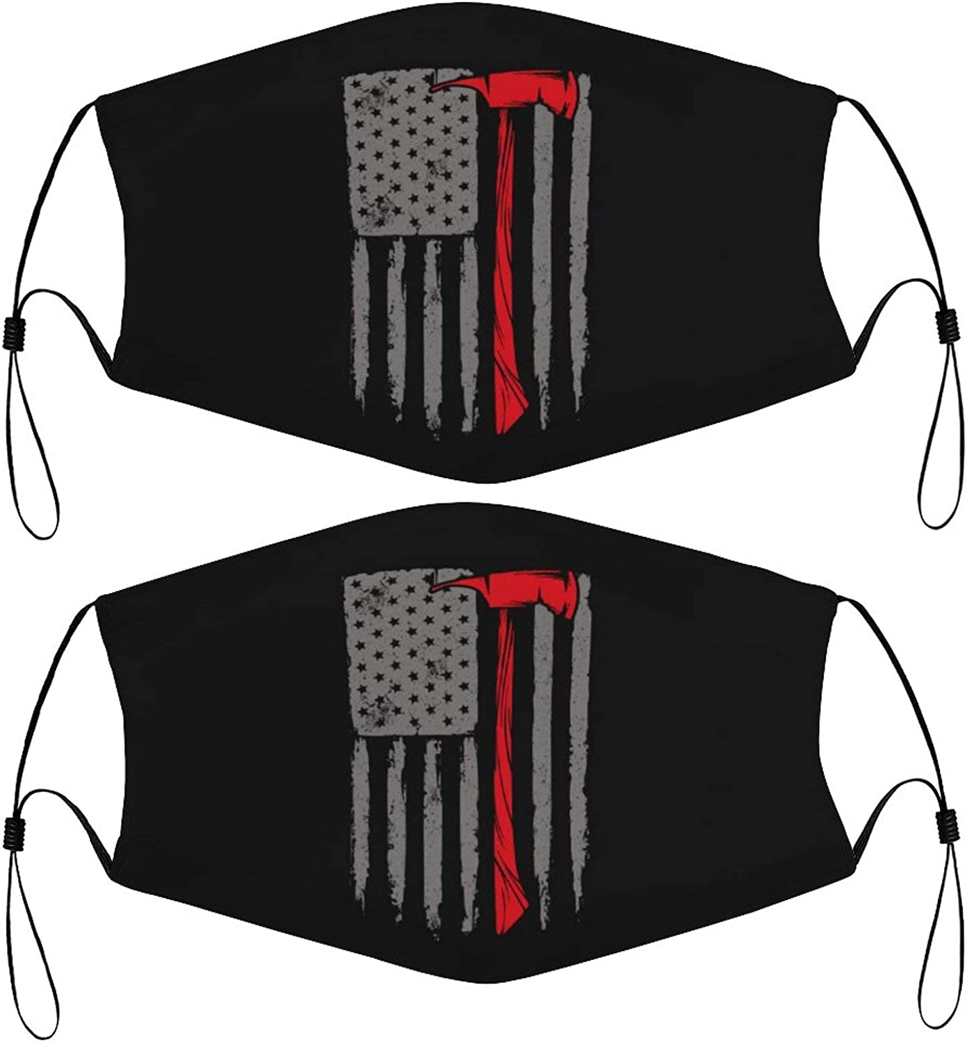 Ff-Firefighter Kids Face Mask Set of 2 with 4 Filters Washable Reusable Adjustable Black Cloth Bandanas Scarf Neck Gaiters for Adult Men Women Fashion Designs