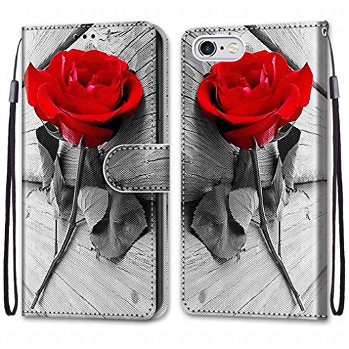 Laybomo Funda para Apple iPhone 6s Carcasa Cuero, Protectora PU Tapa Ranura para Tarjetas Prueba de Golpes con Soporte Plegable Silicona Carcasa Tapa para Apple iPhone 6s, Pintar 4