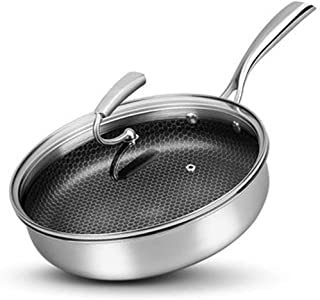 Pan Non-stick Pan With Glass Cover 316 Stainless Steel Frying Pan Household Cooking Fried Egg Steak Uncoated Induction Cooker Gas Stove (Size : 26cm)