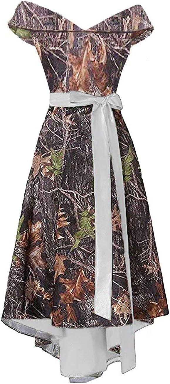 Asulla Women's Camo 格安 価格でご提供いたします Bridesmaid ブランド買うならブランドオフ Dresses Shoulder P Off Homecoming