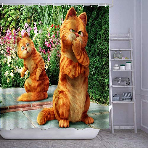 GIKIM Waterproof Shower Curtain Garfield Washable Fabric Bathroom Decor Set with Hook Bath Curtain 72' x 72'