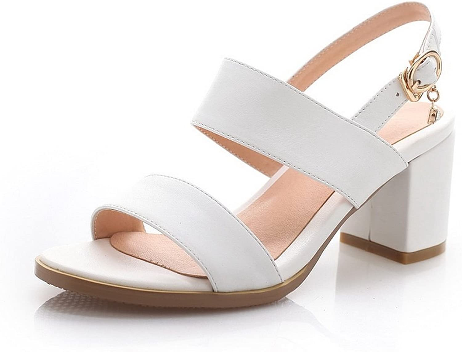 WeiPoot Women's Open-Toe Kitten-Heels Simulation Cow Leather Solid Sandals, White, 34