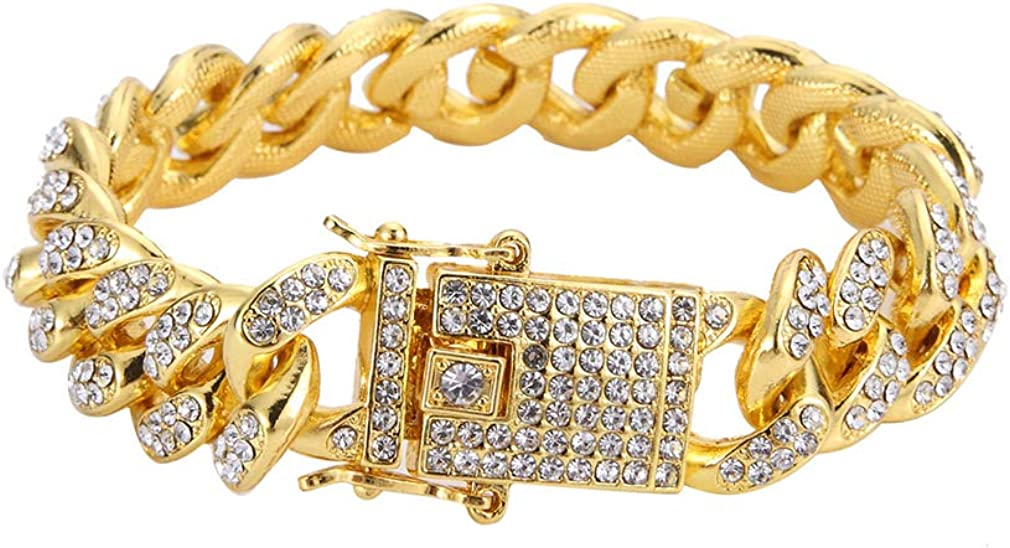 Fusamk Hip Hop 18K Gold gift Plated Max 40% OFF 13MM Out Cr Cuban Iced Chain Wide