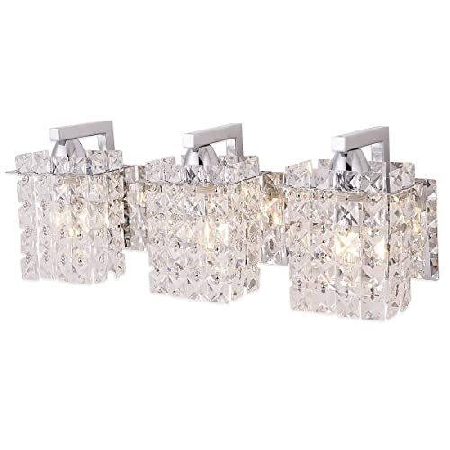 Wall Sconce With Crystal Drops,Polished Chrome Finish,Femony 3 Light Wall  Light