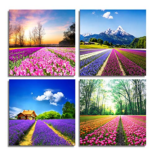 MESESE-Canvas Prints Tulip Lavender Field Wall Art Colorful Flowers Artworks on Canvas Landscape Painting Framed for Modern Home Decoration (30x30cmx4pcs)