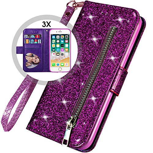 iPhone 6S Plus Bling Wallet Case for Women,iPhone 6 Plus Wallet Case with Strap,Auker Card Holder Folding Stand Folio Flip Book Leather Design Magnetic Glitter Wallet Case with Money Pocket (Purple)