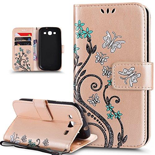Kompatibel mit Galaxy S3 Hülle,Galaxy S3 Neo Hülle,Bunte Gemalt Prägung Schmetterlings Blumen PU Lederhülle Flip Hülle Cover Ständer Etui Wallet Tasche Hülle Schutzhülle für Galaxy S3/S3 Neo,Gold