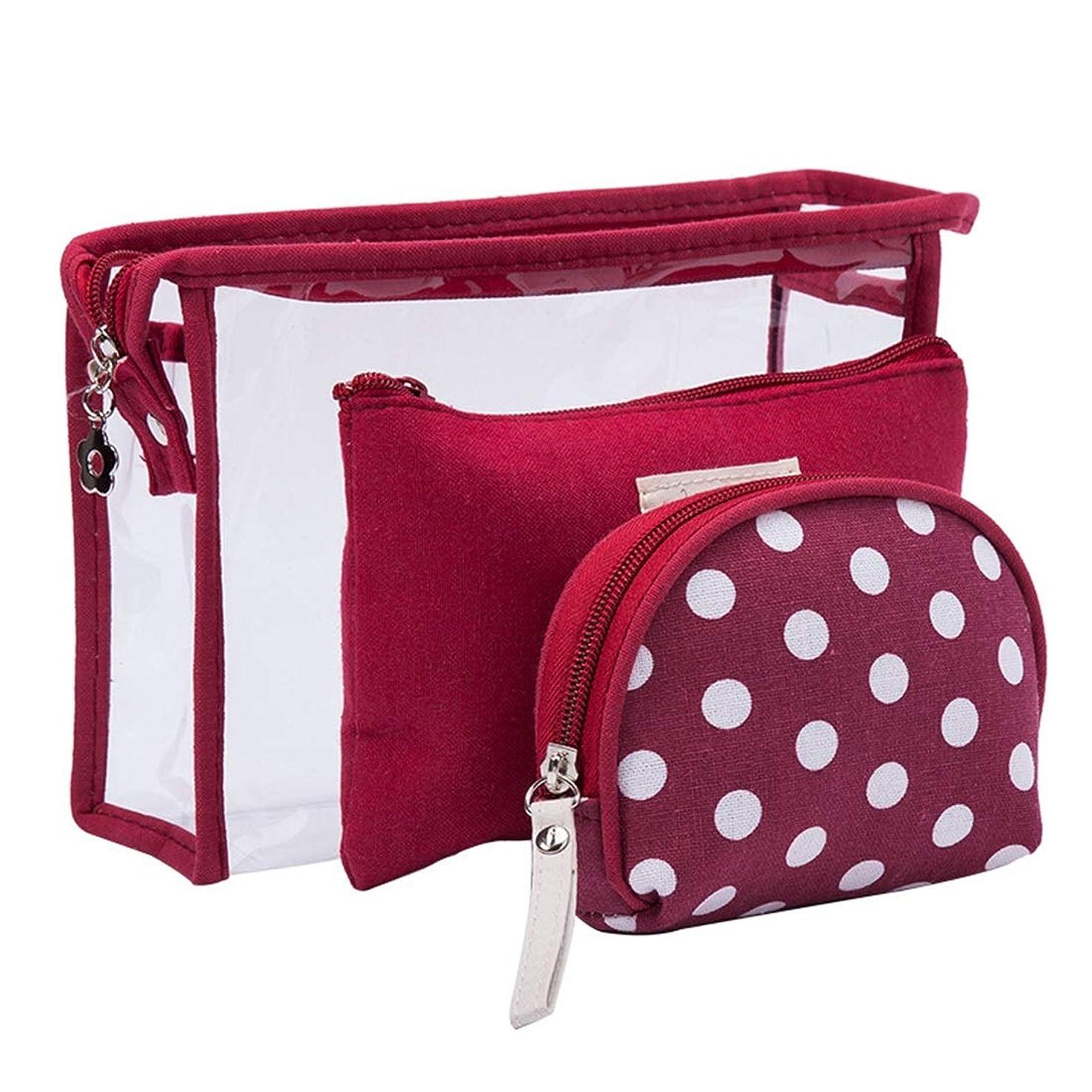 主観的免疫放置Qukick 透明なウォッシュバッグスリーピース折りたたみ旅行保管袋セット旅行ドット女性のトイレタリーバッグ (色 : レッド)