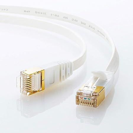 サンワサプライ CAT7ウルトラフラットLANケーブル (5m) 10Gbps/600MHz RJ45 ツメ折れ防止 ホワイト KB-FLU7-05W