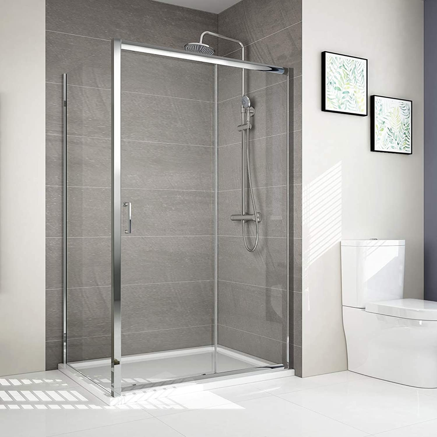 1200 x 760 mm Sliding Shower Enclosure 6mm Tempered Easy Clean Glass Bathroom Sliding Shower Door Shower Cubicle with Side Panel